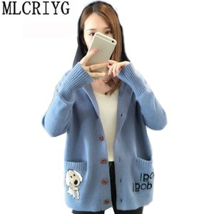 Wholesale MLCRIYG Autumn Winter Women s Sweater Cute Knitted Cardigan Coat Casual Hoody Long Sleeve Sweaters2018 Korean Knit Tops LX338