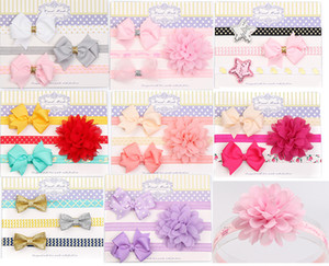 Wholesale 3pcst solid color European baby girl headbands Nylon hairwear Bows star Children HairBand Hair accessories Set H101
