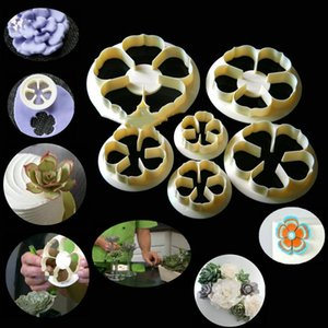 Wholesale 6PCS Rose Flower Succulents Fondant Cuer Cake Mold Fondant Decorating Tools