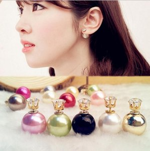 Wholesale Double Sided Pearl Stud Earrings Crown Zircon Stud Fashion Brand Jewelry for women Gift cc mixed colors