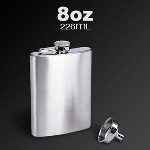 8OZ 7OZ 6OZ Stainless Steel Pocket Whisky Liquor Hip Flask With Funnel Silver Color Outdoor Bottle Flask A187