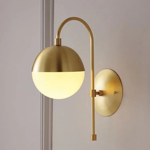 Wholesale Art Retro Wall Light Modern Copper Wall Lamp Bathroom Mirror Light Creativity Bedroom Bedside Glass Ball led Wall Light For Home modern lamp