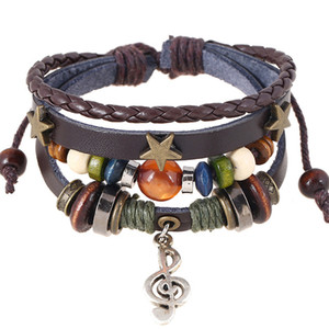 Wholesale Handmade Boho Gypsy Hippie Design Brown Leather With Star Note Metal Charms Wood Button Beads Wrap Unisex Adjustable Bracelet
