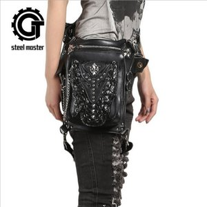 Wholesale Punk Personality Women Men Black Leather Steampunk Mini Waistbag Motorcycle Leg Thigh Holster Bag