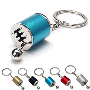 Wholesale Novelty Metal speed Manual Gearbox Transmission Car Keychain Gear Box Lever Key Chain Ring Gear Shift Knob Keyring Gadget Gift