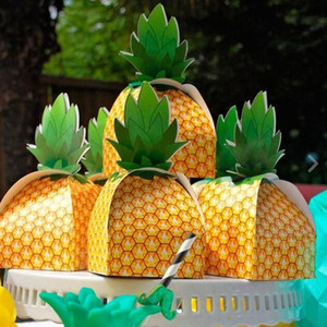 Wholesale Papercard Pineapple Boxes Favor Treat Candy Boxes Birthday Sweets Cake Gift Bag Hawaiian Wedding Party Beach Table Decor events yellow