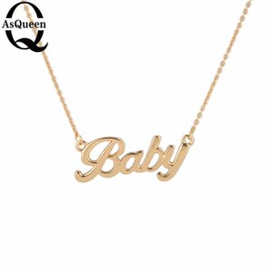 Wholesale Tiny Gold Necklace Gold Letter Baby Pendant Necklaces For Women Girls Lovers Best Birthday Gift