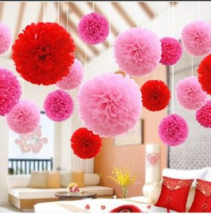 Wholesale atificial flowers resale online - Wedding Decorations Paper Flowers Atificial Flower Decorations For Wall Artificial Flowers Paper Poms for Party Decoration