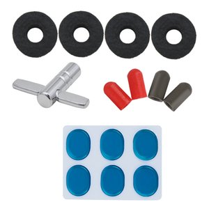 Wholesale Drum type four piece muffler sticker drum sleeve cymbals feather Pad wrench drum accessories opp bag