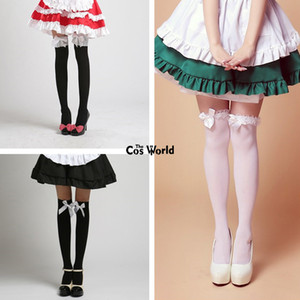 Wholesale Lolita Bowknot Lace Over The Knee Long Stocking Socks Thighhighs For Maid Dress Cosplay Costumes