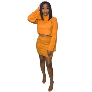Wholesale 2018 Knitted Piece Set Turtleneck Sweater Mini Skirts Dresses Flare Sleeve Autumn tracksuits Women Outfit
