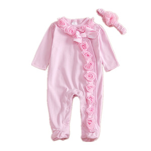 Wholesale Newborn Baby Girl Clothes D Floral Long Sleeve Foot Cover Baby Onesies Cotton Pink Jumpsuit Infant Girl Clothes With Headband Butterfly Bow