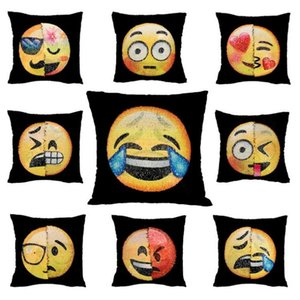 Reversible Sequin emoji Pillow Case cover Cushion Emoji Smiley Face Pillow Double Sequins Pillow cases T4H0385 on Sale