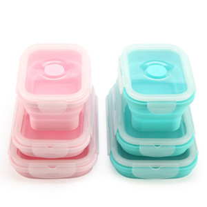 Wholesale 3pcs set Collapsible Silicone Lunch Box Food Storage Containers Food Fruits Holder Camping Road Trip Portable Microwave Oven Bento Box