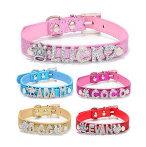 Wholesale 50pcs DIY Leather Dog Collars Gator Skin Personalized Dog collars Customized Lethaer Pet Collar for mm letters Colors