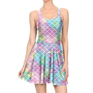 Wholesale Hot fish scales D digital printing original summer design Mermaid Sexy sleeveless pleated dress women cosplay