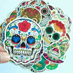 Wholesale 50 Colorful Skull Stickers For Car Phone Laptop Fridge Bicycle Trolley Case PVC Waterproof Decal Sticker