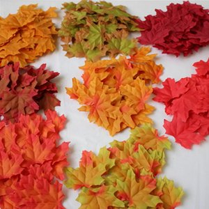 Wholesale 50Pcs Artificial Cloth Maple Leaves Multicolor cm Autumn Fall Leaf Photo Props For Wedding Bedroom Wall Party Decor Craft LX4119