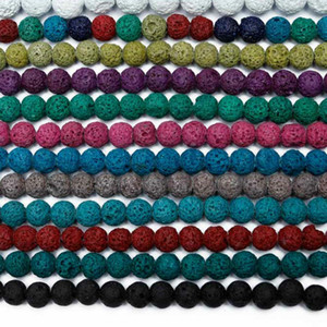 Wholesale 8mm Colorful Volcanic Lava Stone Round Loose beads Natural Stone Rock Ball DIY For Jewelry Bracelet Making Gift