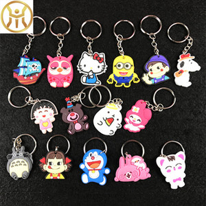 Wholesale 2018 Cute cartoon PVC keychains Kitty Cat Animals shape cartoon film key chains promotions gifts for kids students fashion accessories