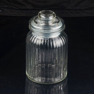 Large 19cm Airtight Vintage Retro Reeded Glass Storage Jar with Vacuum Seal For Sugar Salt Spice Food Candy Cookies on Sale