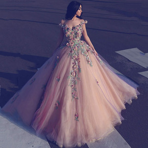 Wholesale 2018 Ball Gown Evening Dresses Off Shoulder V Neck Full 3D-Floral Appliques Beaded With Tulle Floor Length Custom Made Prom Gowns