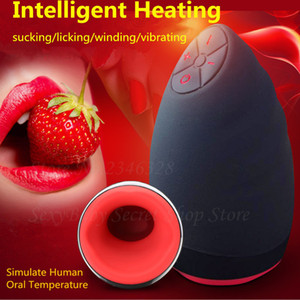 Electric Lick Suck Automatic Oral Sex Machine 6 Speeds Vibrating Intelligent Heat Male Masturbator Cup Adult Sex Toy For Men Y18103106
