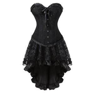 Wholesale Sexy Vintage Black Corset Dress Victorian Burlesque Corsets Skirt Set Halloween Party Dancing Cosplay Costume Plus Size S XL