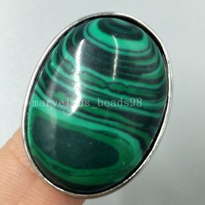 Wholesale Beautiful jewelry Malachite Women Men Art Water Oval Ring Adjust Size PC5257