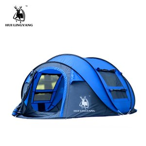 tent outdoor 3-4persons automatic speed open throwing pop up windproof waterproof beach camping tent large space waterproof cA