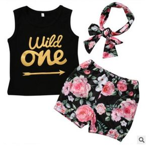 Wholesale Baby Girls Clothes Outfits Set Summer Set Infant Baby Girl Clothes Wild One Arrow Letter Print Vest Top Floral Shorts Bottom Headband