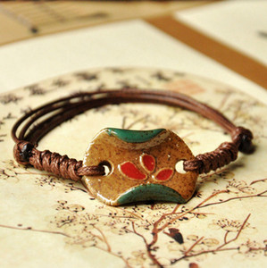 Wholesale Ceramic Long Bracelet Hand carved Lotus Braided Rope Retro Chinese Style National Wind Porcelain Beads DIY Creative Fashion Gift Jewelry