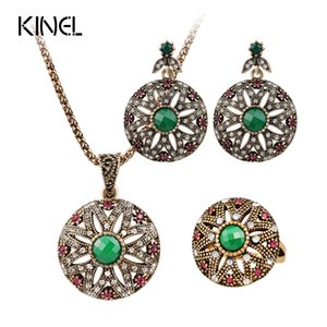 Wholesale Women s Fashion Indian Jewelry Openwork Flowers Earring rIng Pendant Rhinestone Jewelry Set