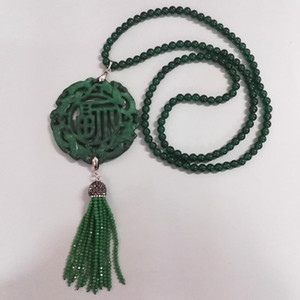Vintage Asia Ancient Sculpture Carving Art Pattern Dark Green Semi Precious Onyx Beads Stone Tassel Pendant Necklace DIY Jewelry