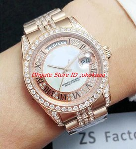Wholesale New Style Best Edition Watch ZS Factory mm Day Date Full Diamond Bezel Bracelet k Gold Swiss Movement Automatic Mens Watches t1