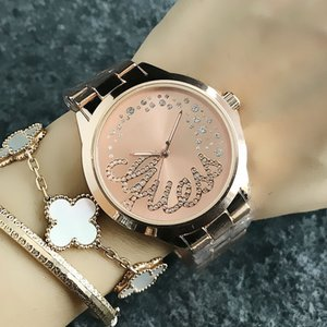 Brand quartz wrist watch for women Girl with crystal dial metal steel band GS 11