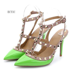 Wholesale 2018 Brand Women Pumps Wedding Shoes Woman High Heels sandal Nude Fashion Ankle Straps Rivets Shoes Sexy High Heels Bridal Shoes Size
