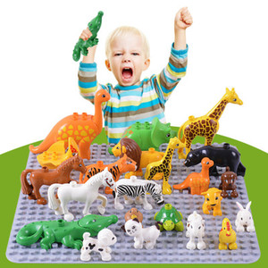 50pcs lot Duplo Animal Zoo Large Building Blocks Enlighten Child Toys Lion Giraffe Dinosaur DIY INGlys Bricks Kids Toy Gift