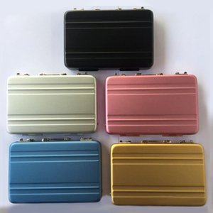 Mini Suitcase Business Card Files Case Multi Color High Grade Aluminium Alloy Cards Holder Office Supplies 13ys C R