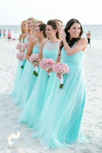 Fashion Light Turquoise Bridesmaids Dresses Plus size Beach Tulle Cheap Wedding Guest Party Dress Long Pleated Evening Gowns