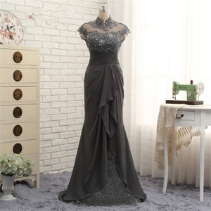 Wholesale 2018 fengyudress Gray Chiffon Mother Of The Bride Dresses Custom Cap Sleeves High Collar Lace Sheath Formal Dress Vestidos de fiesta largos