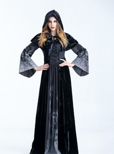 Wholesale Halloween Party Cosplay Devils Costume Women Vampires Witches Floor Length Dress With Shawl Bandage Robe Print Festival Wear Costumes