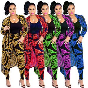 5 Colors In Stock 2019 New Digital Printing Women Long Coat and Pants Suits Long Sleeves Cardigans Leggings Two Pieces Fashion Outfits on Sale