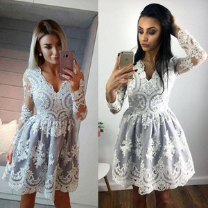 Wholesale V Neck Long Sleeve party Prom Dresses Lace Applique Short Cheap Dress Evening Wear Custom Made Plus Size Cocktail Gown