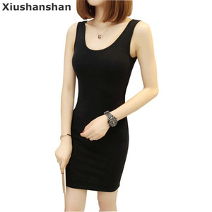 Wholesale Xiushanshan High Quality Cotton Sleeveless Solid Sexy Tight Back Dress Colors O Neck S Xxl Knee Length Summer Dress