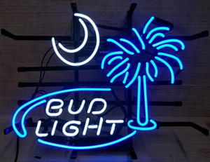 "17""x14"" Bud Light South Carolina Palmetto Tree Moon Beer Neon Light Sign"