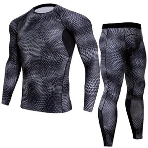 LINDSEY SEADER Men's snake print Gym Fitness out fit training Running Tights Jogging Suit compress longsleeve set shirt+pant