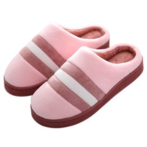 Wholesale Trendy House Shoes Woman Man Indoor Slipper Striped Half Cover Heel Plush Warm Slip Resistant Floor Slipper for Lovers