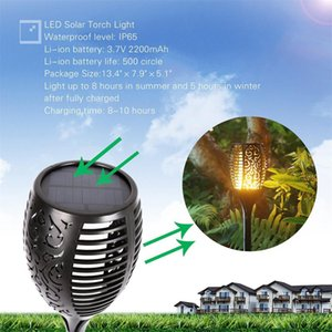 Wholesale New Solar Torch Flame Lights Outdoor Garden Landscape Courtyard Decoration Waterproof Wall Lamp Flickering LED Dancing Flame Lights