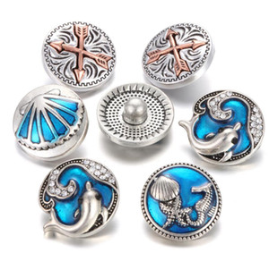 Wholesale 10pcs New Sea Snap Button Jewelry Blue Dolphin Starfish mm snaps Alloy Button Charms Fit Leather Silver Snap Bracelet